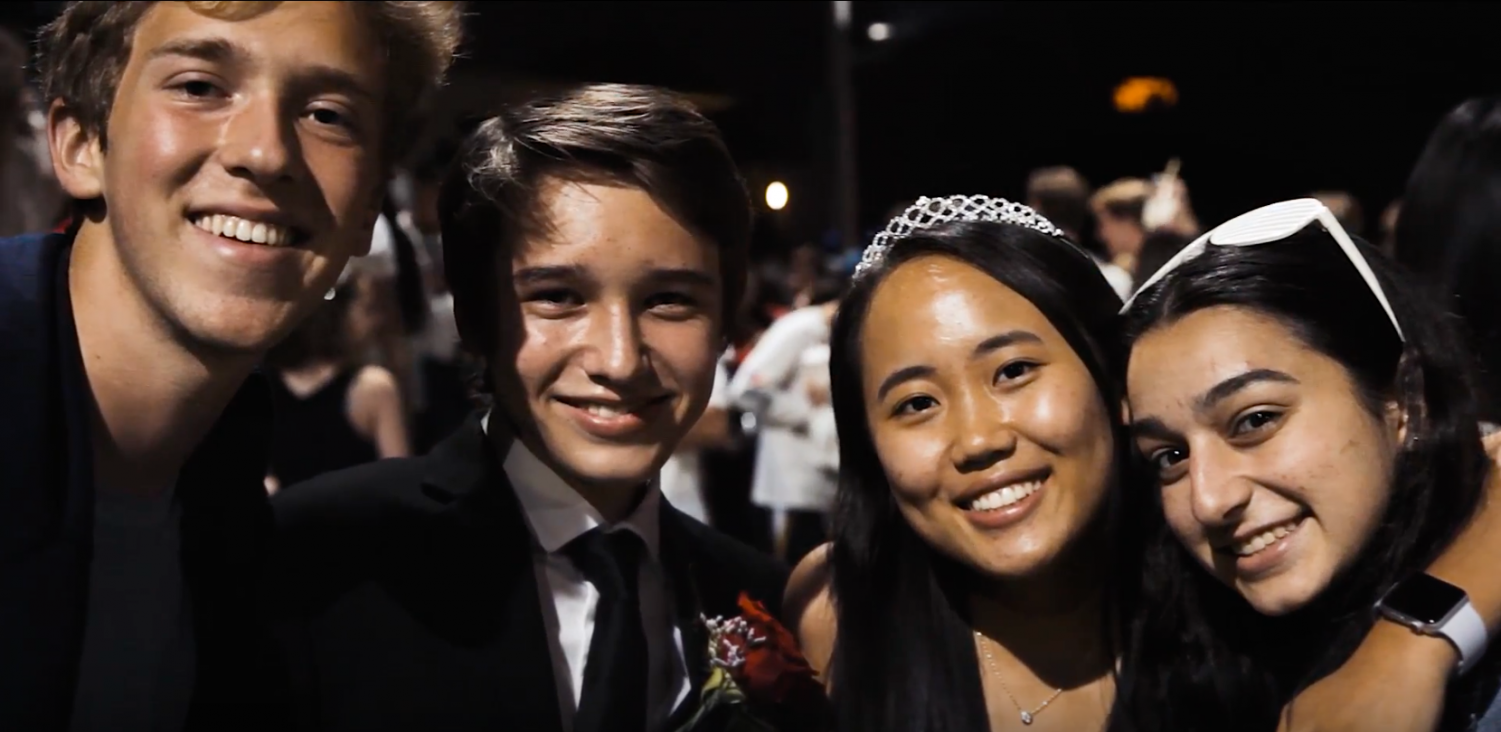 Homecoming Court members Patrick Hastings '20 and Irene Jang '20 pose for the camera along with Jeffrey Pendo '20 and Carina Mankerian '20.