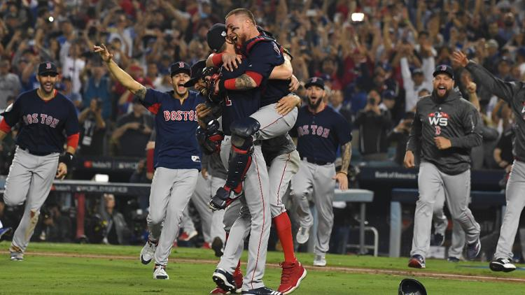Red+Sox+celebrate+after+the+final+out