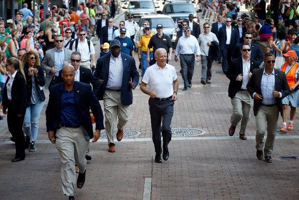 Joe Biden running at the Pittsburgh Labor Day Parade.