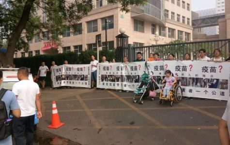 Protest over China's fake vaccine scandal.