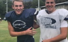 Ben Grable 20 and Ben Sacks 19 smile for a picture before practice.