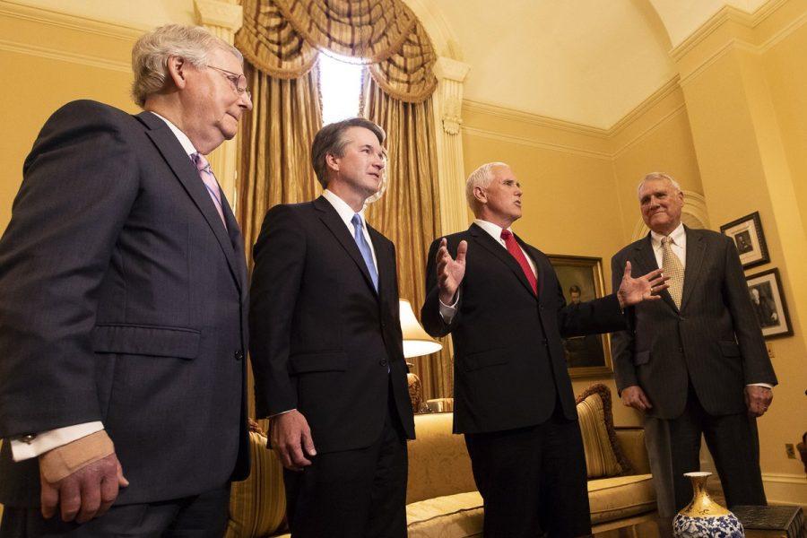 Mike+Pence%2C+Brett+Kavanaugh%2C+Mitch+McConnell%2C+and+Jon+Kyl.
