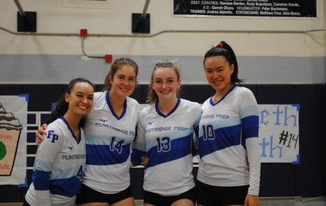 (From left to right) Seniors Melissa Grande, Libby Penn, Courtney Johnson, and Chloe Chanren pose for a picture before their last match of the season.