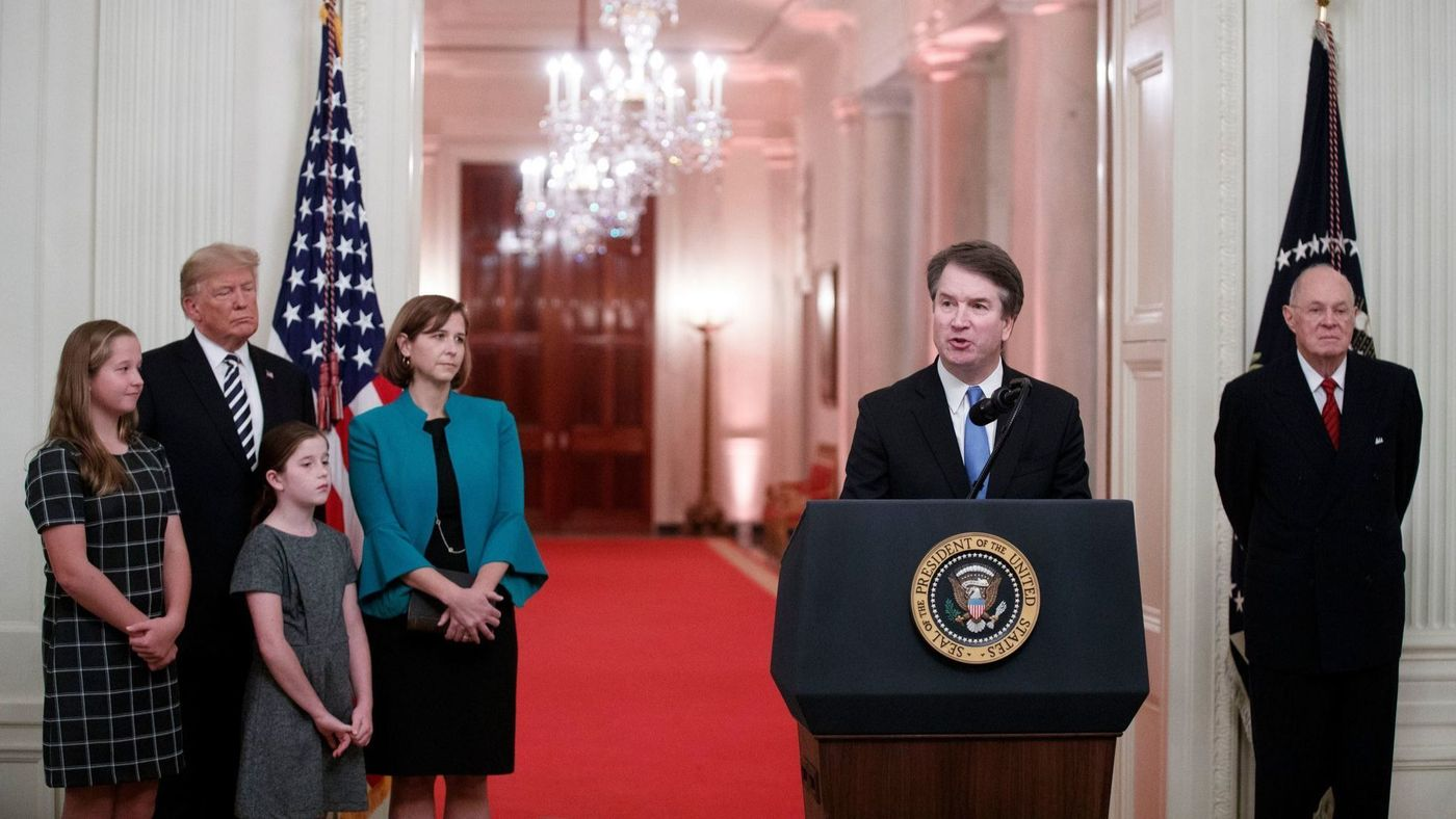 Kavanaugh speaks at his confirmation.