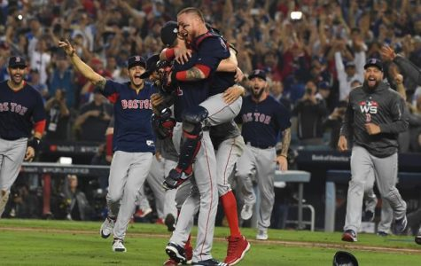 Red Sox celebrate after the final out