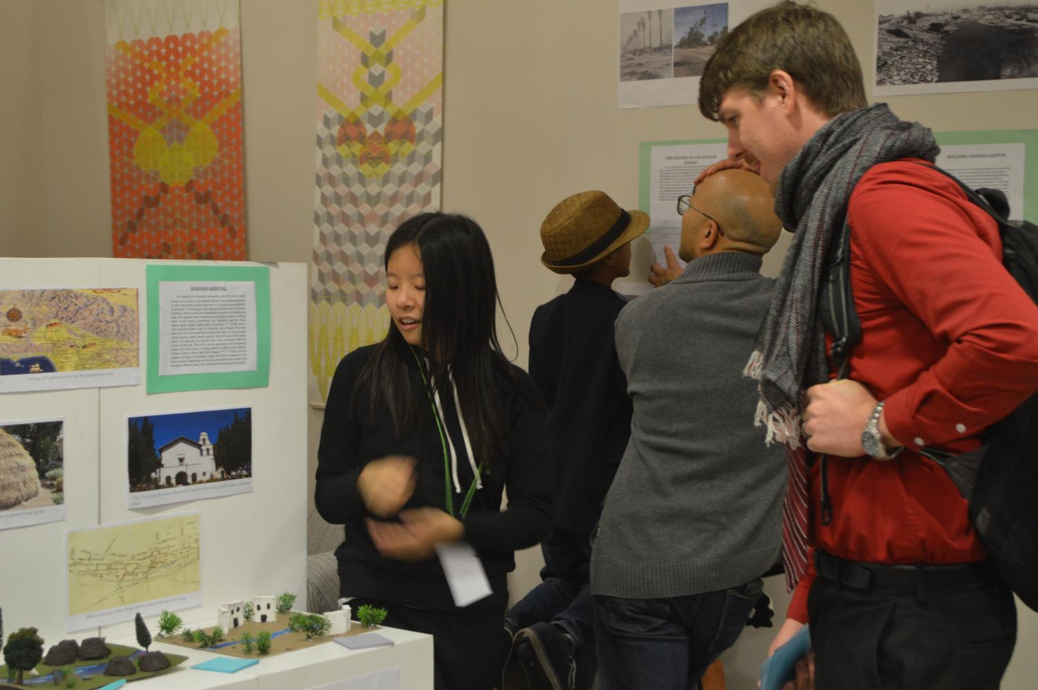Mayline Chen '24 showcases her project to Dr. Frewen.