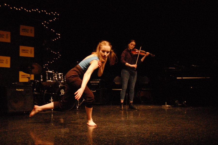 Julia+Boberg+%2720+dances+to+her+sister%27s+violin+accompaniment+at+Amnesty+Coffeehouse.