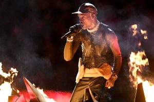 Travis Scott performs at the Super Bowl LIII Halftime Show.