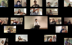 A screenshot of Prep's orchestra class performing in the virtual concert