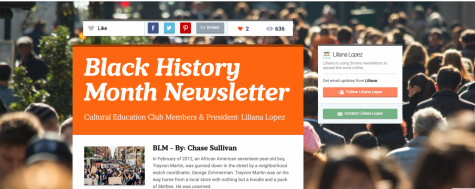 Black History Month Newsletter -- Cultural Education Club