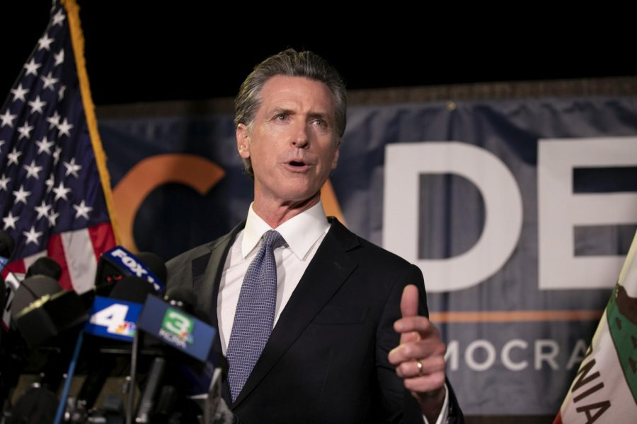 Governor Newsom delivers a speech on election night at the California Democratic Party headquarters.
